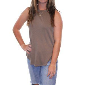 ETTIQUETTE Taupe Halter Muscle Tank Top #AC19